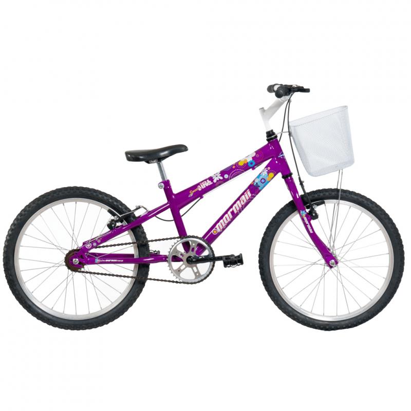 Bicicleta Mormaii Aro 20 Sweet Girl Violeta c/ Ces...