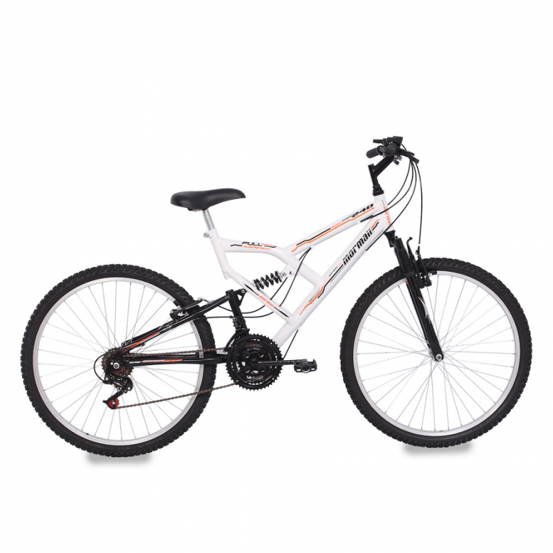 Bicicleta Mormaii Aro 26 FULL FA240 18V Branco/Pre...