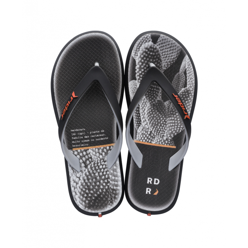 Chinelo Rider R1 Play Kids INF - Preto/Cinza (10718)